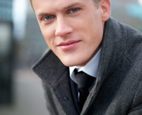 Close up portrait of a businessman outdoors