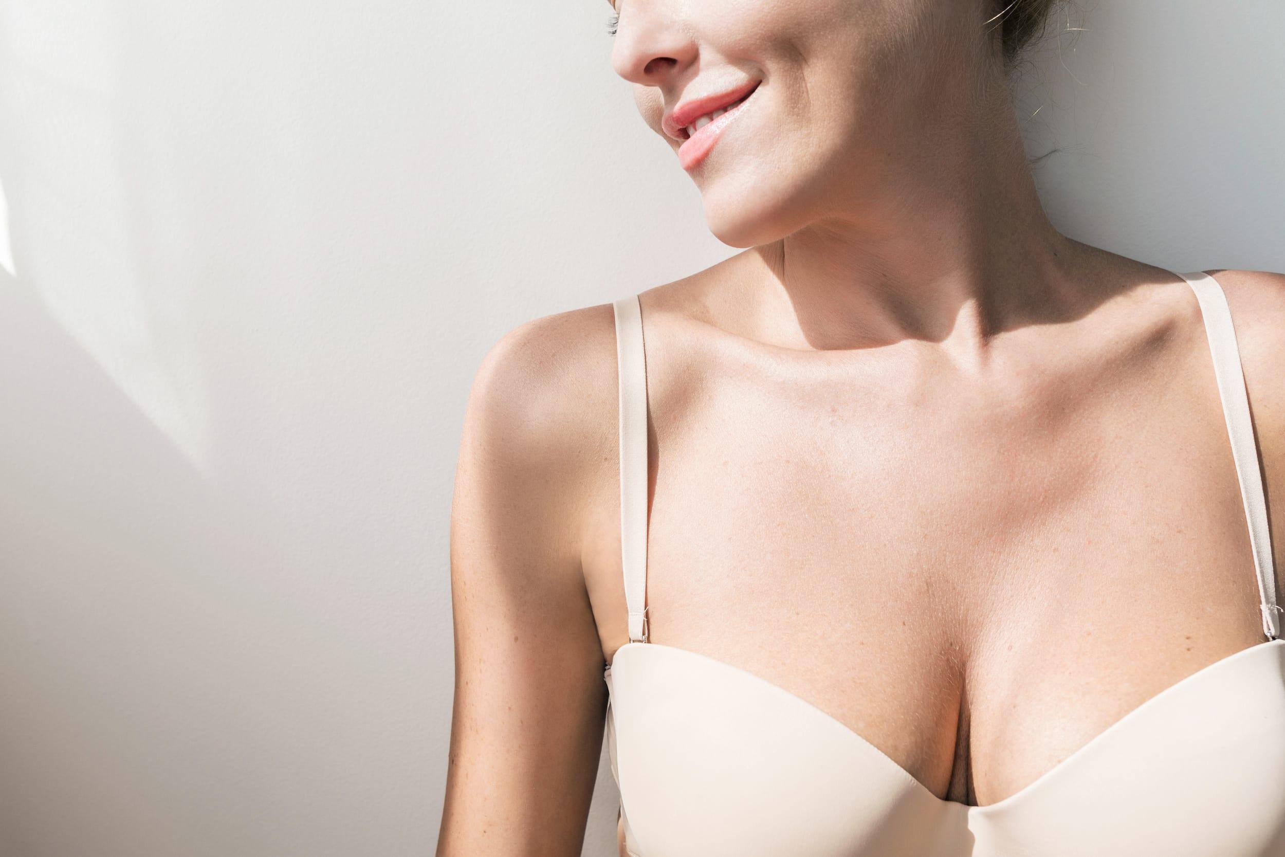 Portrait of Caucasian woman wearing lingerie after Breast Lift in Winnipeg, MB